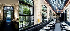 Au Café Artcurial  sous la longue verrière aux murs de pierre et de briques dessinée par Charles Zana, les tables en marbre de Carrare accueillent les convives  © www.cafeartcurial.fr