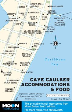 Map of Caye Caulker Accommodations & Food, Belize