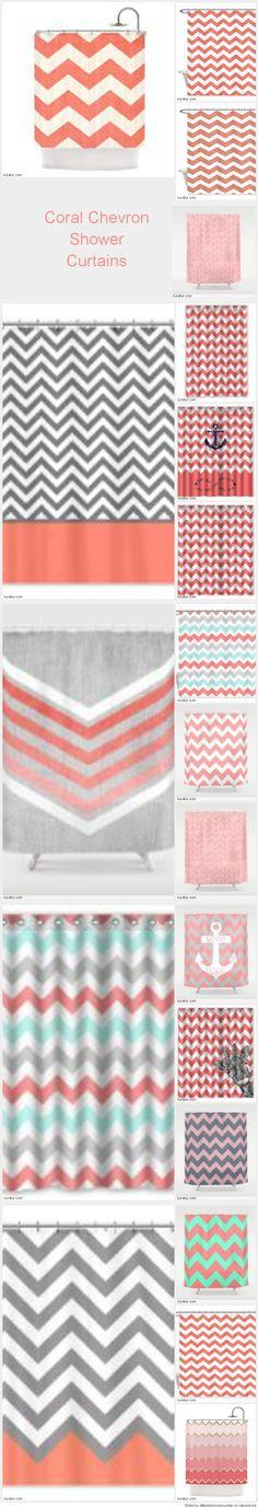 Curtains Ideas coral chevron shower curtain : Black, Grey and Coral Chevron Shower Curtain Zig Zag Designs ...