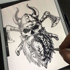 Viking monochrome sketch before & afterconcept created by DGIM studio - a graphic design studio with many years of experience! Need a creative logo design or illustration for your business? CLIK ON THE LINK & CONTACT US! Viking Tattoo Sleeve, Norse Tattoo, Armor Tattoo, Maori Tattoos, Tribal Tattoos, Skull Tattoos, Body Art Tattoos, Sleeve Tattoos, Arte Viking