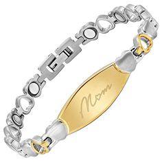 MOM Love Heart Titanium Magnetic Bracelet Engraved Size Adjusting Tool & Gift Box Included Willis Judd - The Gift Idea Shop Diy Bracelets Easy, Beaded Wrap Bracelets, Link Bracelets, Jewelry Bracelets, Cute Jewelry, Body Jewelry, Women Jewelry, Heart Bracelet, Stone Bracelet