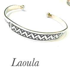 Bracelet en argent rigide ciselé, bijoux ethniques homme