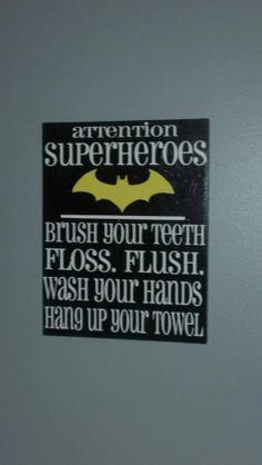 Bathroom Superheroes Sign by WordArtTreasures on Etsy, $15.00