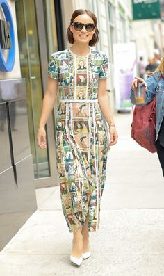 Olivia Wilde wears a Burberry dress featuring a Henry Moore-inspired print whilst out in New York