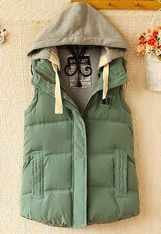 Army green hooded vest jacket