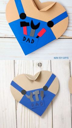 Father's Day Handy Dad Heart Card Kids Can Make For Dad Or Grandpa - - Handy dad heart card for kids to make for Father's Day. Perfect for preschoolers, kindergartners and older kids. Cut, glue and craft. Toddler Crafts, Crafts For Kids, Arts And Crafts, Preschool Crafts, Mason Jar Crafts, Mason Jar Diy, Non Toy Gifts, Craft Gifts, Diy Gifts