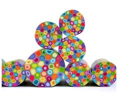 Polymer clay millefiori cane  Rainbow colors Retro by RonitGolan, $4.95