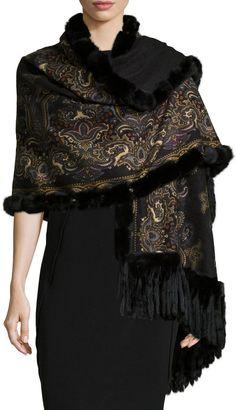 Gorski Reversible Cashmere Fur-Trim Shawl, Black