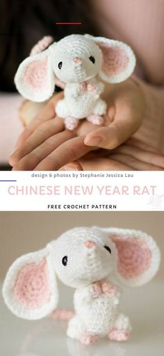 Chinese New Year RatFree Crochet Pattern - #freeamigurumipatterns - There is nothing sweeter than tiny amigurumi dolls. Especially animals! These toys can look complicated, but in fact they're not... Crochet Sloth, Crochet Animal Amigurumi, Cute Crochet, Amigurumi Doll, Crochet Animals, Crochet Toys, Crochet Stuffed Animals, Kawaii Crochet, Crochet Pattern Free