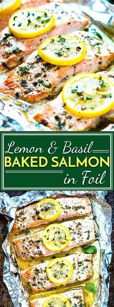 Basil & lemon baked salmon in foil is a healthy and easy way to make a low-carb, Paleo and gluten-free dinner for the whole family. This seafood recipe is a quick meal full of and healthy fats. dinner for family Basil & Lemon Baked Salmon in Foil Healthy Salmon Recipes, Fish Recipes, Paleo Recipes, Healthy Dinner Recipes, Cooking Recipes, Chicken Recipes, Shrimp Recipes, Cooking Bacon, Healthy Dinner Options