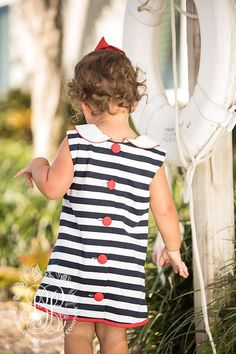 Luanne's Lunch Dress - Nantucket Navy & Worth Avenue White Stripes wit - The Beaufort Bonnet Company