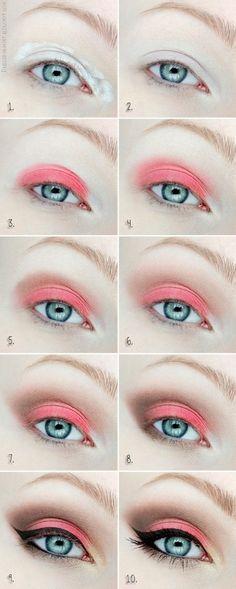 Make up tutorial - Orange, brown, eyeliner