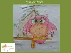 Pano de prato - pintado à mão - Corujinha rosa - Além Brasil