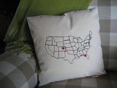 Personalized Heart Strings Map Pillow by FelixStreetStudio on Etsy, $42.00