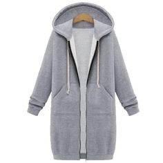 Gender: Women Item Type: Hoodies,Sweatshirts Sleeve Length(cm): Full Collar: O-Neck Model Number: SKU482309 Style: Casual Weight: 650 Fabric Type: Broadcloth Material: Polyester,Cotton Sleeve Style: Regular Pattern Type: Solid Hooded: Yes Clothing Length: Long Type: ZIPPER