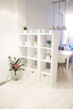 separar-ambientes-librería-blanca #homedecor