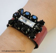 Leather Bracelet - for more information go to www.glamaccessories.weebly.com or https://www.facebook.com/GlamAccess0ries