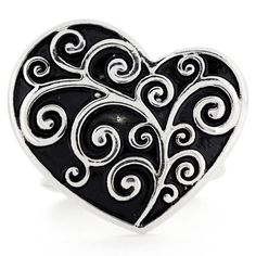 Valentine's Day Vintage Style Silver Heart Stretch Ring