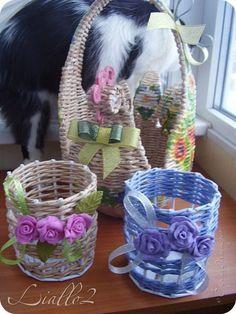 Поделка изделие Плетение Хлебницы шкатулки Трубочки бумажные фото 3 Newspaper Basket, Newspaper Crafts, Paper Weaving, Art N Craft, Camping Crafts, Basket Weaving, Wicker, Diy And Crafts, Birthdays