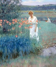 """huariqueje: """" Among The Lilies - Edward Dufner American, 1872 – 1957 Oil on canvas , x cm. x 25 in. Intermediate Colors, Buffalo Art, Art Students League, Cross Stitch Supplies, Counted Cross Stitch Patterns, American Artists, Figurative Art, Female Art, Les Oeuvres"""