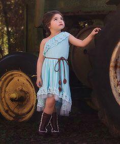 Trish Scully Child Aqua Awinita Hi-Low Dress & Belt - Toddler & Girls | zulily
