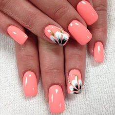 uñas 20 große Spring Nail Designs 2019 Summer season Wedding ceremony Attire Not like e Flower Nail Designs, Nail Designs Spring, Nail Art Designs, Coral Nail Designs, Vacation Nails, Cruise Nails, Peach Nails, Spring Nail Art, Nagel Gel