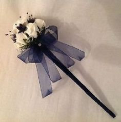 WEDDING FLOWERS - BRIDESMAIDS FLOWERGIRLS WAND IN IVORY, NAVY BLUE AND SILVER