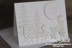 Beautiful Joy to the World White Christmas Reindeer Card made with Stampin' Up! Santa's Sleigh Thinlits