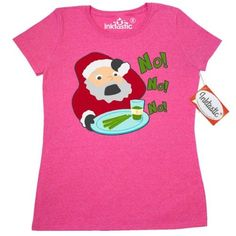 Inktastic Santa's Healthy Surprise Women's T-Shirt Santa Cookies Kale Snack Holiday Christmas Jolly Ho No Celery Jesus Birthday Carols Red Green Tree Reindeer Stocking Snowman Hats Scarves Mittens Seasons Greetings Happy Holidays Family Penguin Noel Emmanuel Christ Child Ornaments Llights Snow Xmas Clothing Apparel Tees Adult, Size: Medium, Grey
