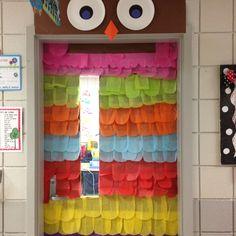 Cute owl door decor for classroom! Owl Theme Classroom, Classroom Bulletin Boards, Classroom Door, Classroom Design, Classroom Displays, Classroom Organization, Classroom Ideas, Class Decoration, School Decorations