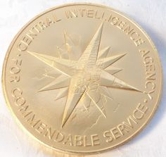 1989 24k Gold Plate Bronze CIA Medal For Commendable Service  Medallic Art Co