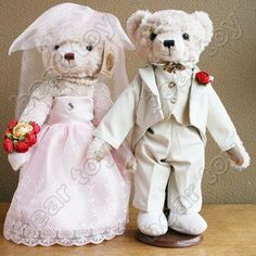 Wedding Teddy Bears | couple of wedding teddy bears in wedding dress tuxedo teddy bear toy ...