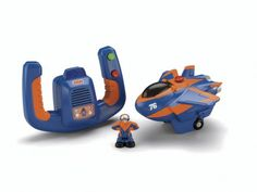Fisher Price Remote Control GeoAir Plane Blue Flash and D...
