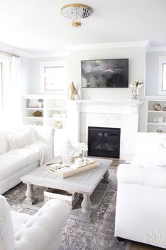 Welcome To Our Bright White Living Room - Summer Adams Shabby Chic Interiors, Shabby Chic Furniture, Shabby Chic Decor, White Interiors, Living Room Inspiration, Interior Design Inspiration, Living Room White, Living Rooms, Living Spaces