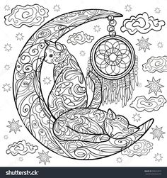 Beautiful kittens. Vector illustration. Cat sleeps on the moon. Doodle. Coloring book for adults. Black and white in zentangle style. Little kitten sleeps. Dreamcatcher. Shaman. Anti stress. Dream.