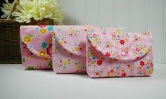 3 Piece Snap Pouch Set Nesting Pouch Set  (Large Medium Small) .. Bloom and Bliss Floral in Pink by Hot4Handbags