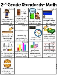 Grade I Can Statements Common Core with Pictures by Melissa Moran Homeschooling 2nd Grade, Teaching Second Grade, Second Grade Math, Homeschool Math, Teaching Math, Teaching Time, Math Lesson Plans, Math Lessons, Spanish Lessons
