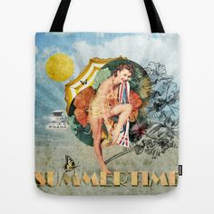 Retro Summertime Tote Bag by Dotiee - $22.00