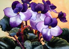 African Violet Art Print by Mary Gibbs Art - X-Small Abstract Watercolor, Watercolor Illustration, Watercolor Flowers, Watercolor Paintings, Flower Paintings, Watercolors, Mary Gibbs, Flower Landscape, Tribal Art
