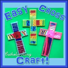 Easiest Cross Craft For Kids Ever Vbs Crafts, Bible Crafts, Easter Crafts, Arts And Crafts, Catholic Crafts, Catholic Kids, Children Church, Church Crafts, Catholic Icing
