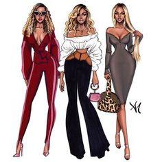 Beyonce, Style Inspiration - by Armand Mehidri Fashion Model Sketch, Fashion Design Sketchbook, Fashion Design Drawings, Fashion Sketches, Fashion Drawing Dresses, Fashion Illustration Dresses, Illustration Blume, Illustration Mode, Illustrations