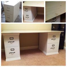 Filing Cabinet Makeover Using A Little Spray Paint And Moulding, We Turned  Our Old Metal Filing Cabinets Into A Desk. The Top Is Sandwiched Planks  With A ...