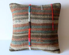 Embroidered Handwoven Tribal Turkish Kilim Pillow Cover/ Organic Shine Society- home decor for the tribal modern bohemian