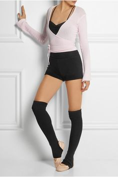 BALLET BEAUTIFUL Belle wrap-front knitted jersey top Knitted jersey leotard Skyline knitted jersey shorts Leather ballet flats