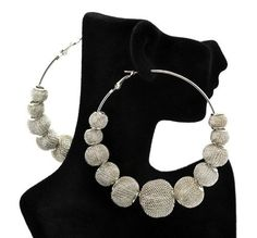 Basketball Wives POParazzi Inspired Silver Mesh Ball Earrings