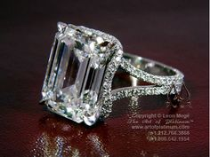 Ring Solitaire Gina - r319  (Emerald Cut, Micro Pave, Halo Setting)  such a gorgeous ring