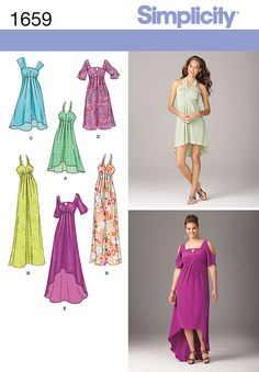 Simplicity 1659 - Misses' & Plus Size Dresses - Misses' & Plus Size day into evening dress with empire waistline seam & pleat details has halter or shoulder straps or cold-shoulder sleeves with straight or hi-low hemlines.