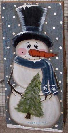 Primitive hp folk art prim snowmen pine tree old reclaimed wood naiveprimitive Christmas Wood Crafts, Christmas Canvas, Snowman Crafts, Christmas Paintings, Christmas Signs, Christmas Snowman, Christmas Projects, Holiday Crafts, Christmas Decorations