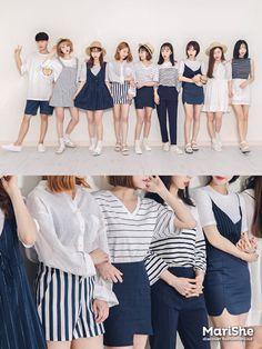 korean fashion similar twin look dark blue navy skirt shirt dress white hat street casual Korean Fashion Trends, Korean Street Fashion, Korea Fashion, Asian Fashion, Look Fashion, New Fashion, Trendy Fashion, Girl Fashion, Fashion Outfits