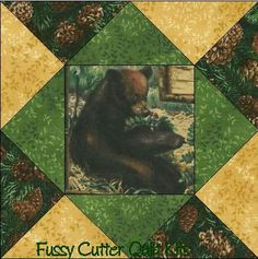 Bear Mountain Wilderness Fabric Easy Pre-Cut Quilt Blocks Top Kit Squares